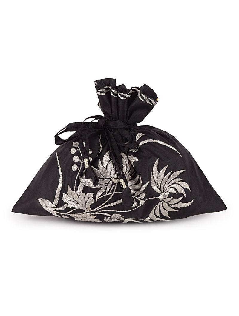 Black-Silver HK Chrysanthemum Silk Parsi Gara Potli