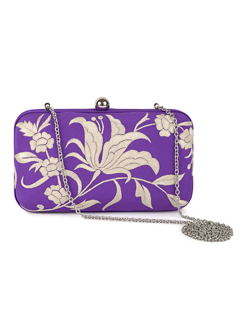 Purple-Ivory Iris Flower Crepe Silk Parsi Gara Box Clutch