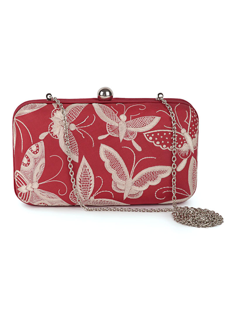 Red-Ivory Butterfly Crepe Silk Parsi Gara Box Clutch