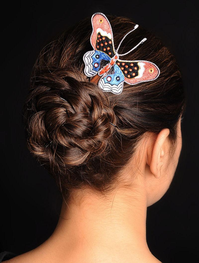 Red-Black-Blue  Crepe Silk Parsi Gara Hair Pin