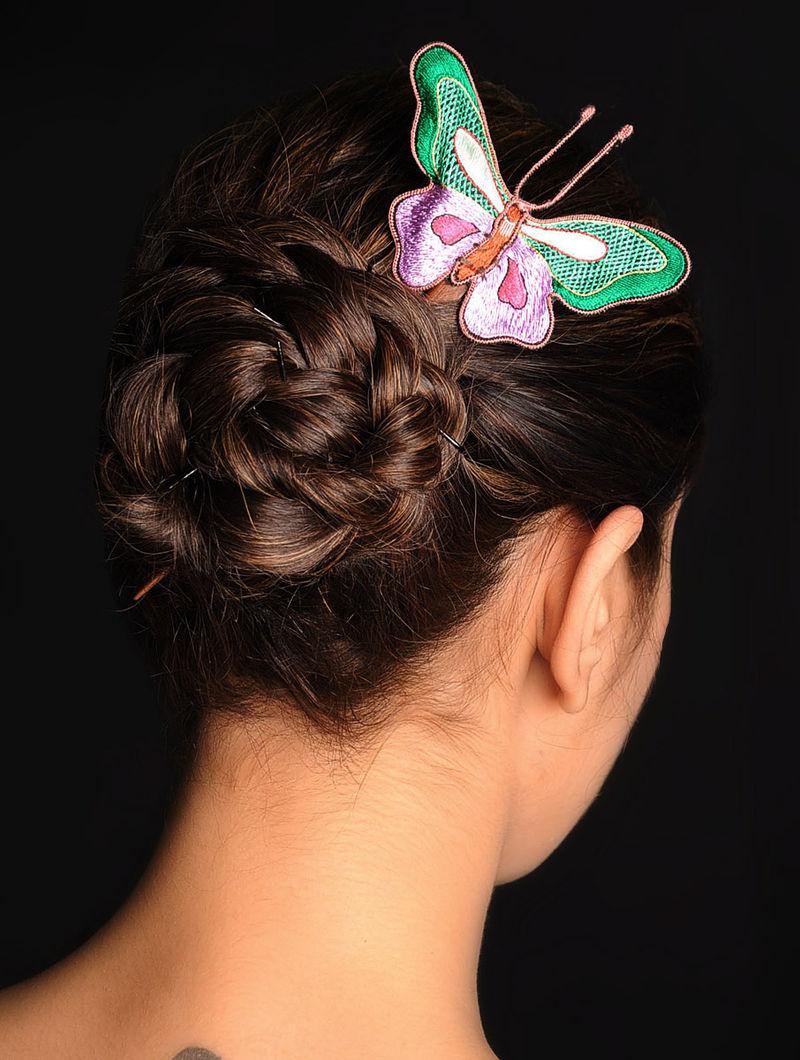 Green-Purple  Crepe Silk Parsi Gara Hair Pin
