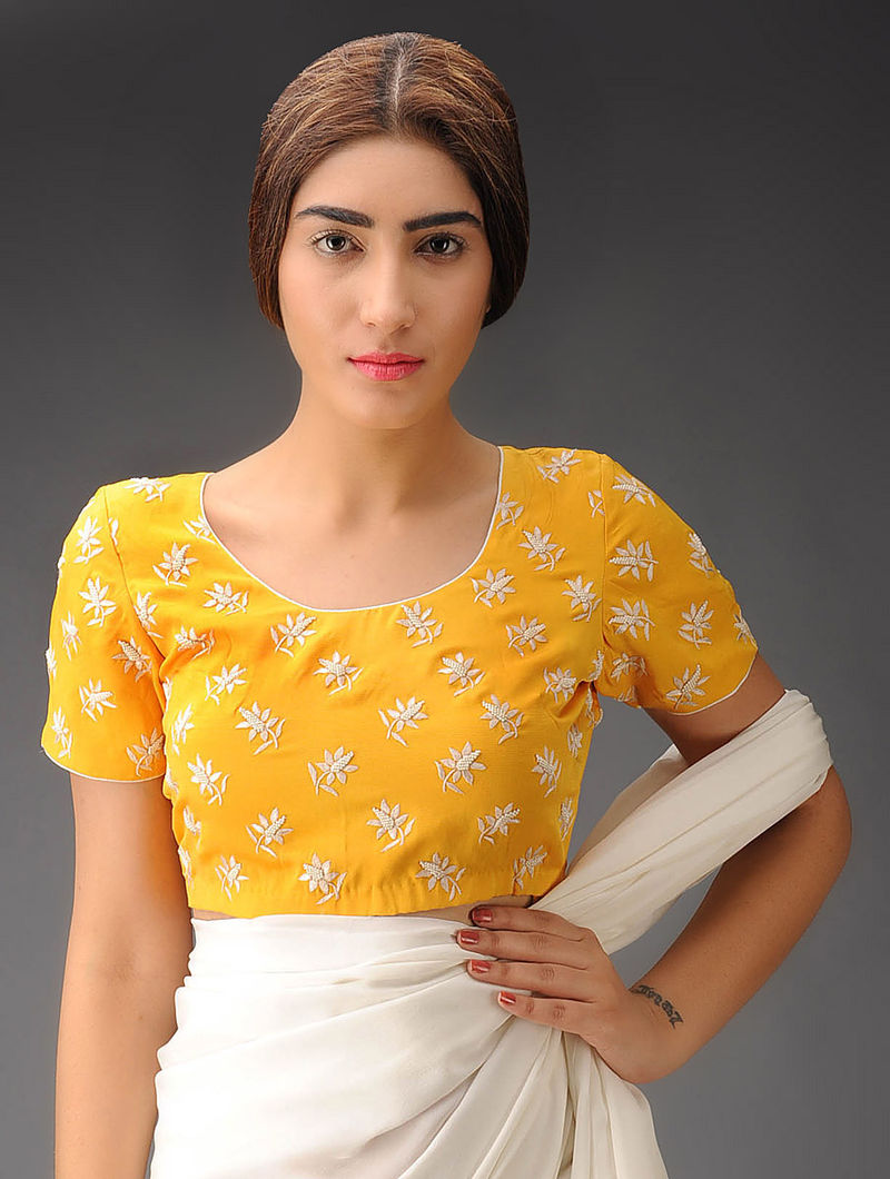 Yellow-Ivory Lotus Flowers Crepe Silk Parsi Gara Blouse