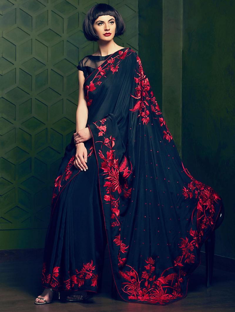 d726bd68fb Black-Red Parsi Gara Crepe Silk Jacquard Saree