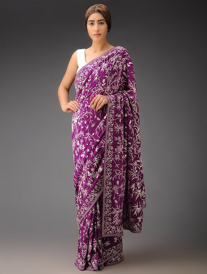 Purple-Ivory Bamboo All Over Crepe Silk Parsi Gara Saree