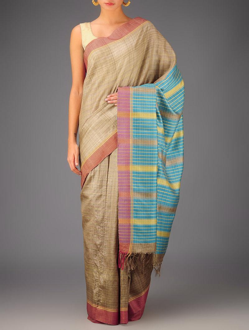 Beige-Sky Blue Tussar Dupion Silk Handwoven Saree