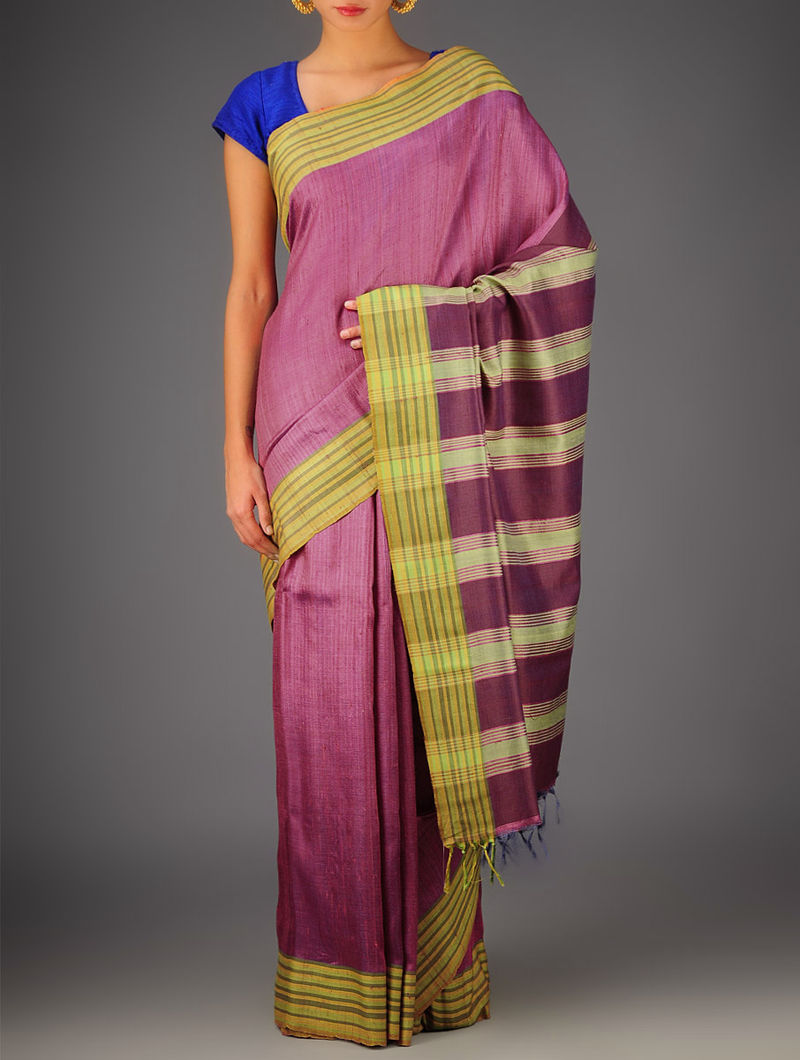 Pink-Multi-Color Tussar Dupion Silk Handwoven Saree