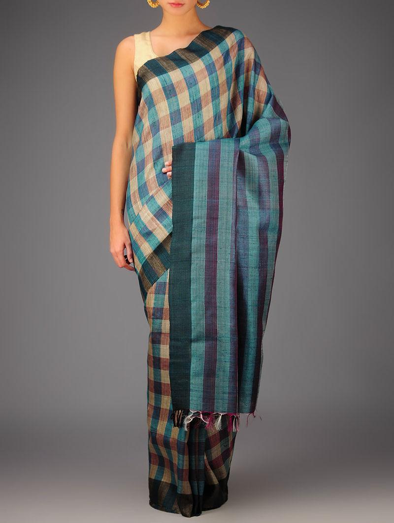 Blue-Beige Tussar Dupion Silk Handwoven Saree