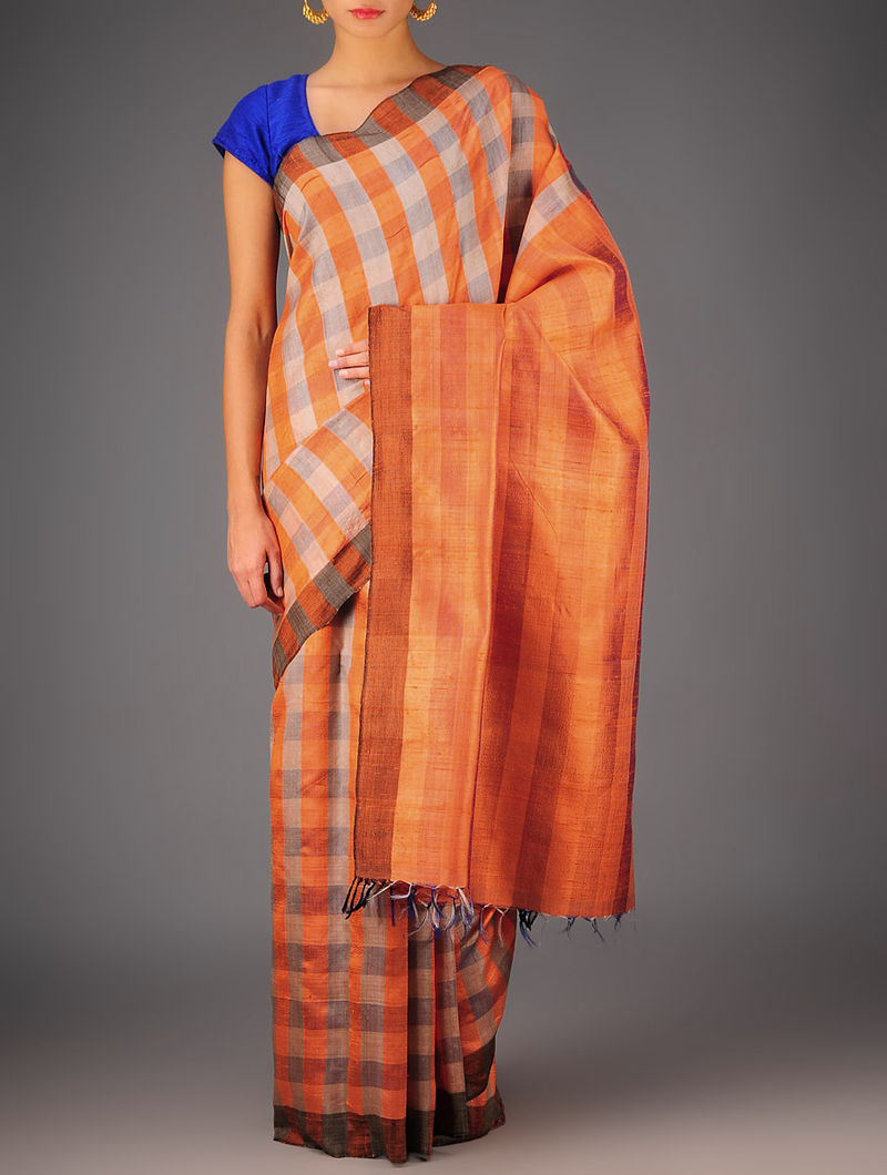 Orange-Beige Tussar Dupion Silk Handwoven Saree