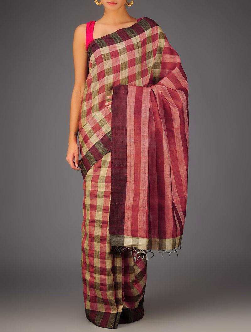 Red-Beige Tussar Dupion Silk Handwoven Saree