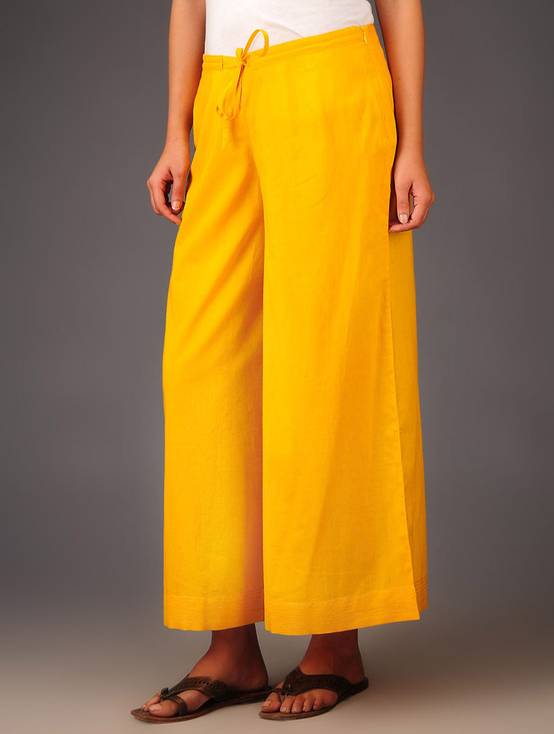 Yellow Cotton Stitch Detailed Tie-Up Waist Palazzos