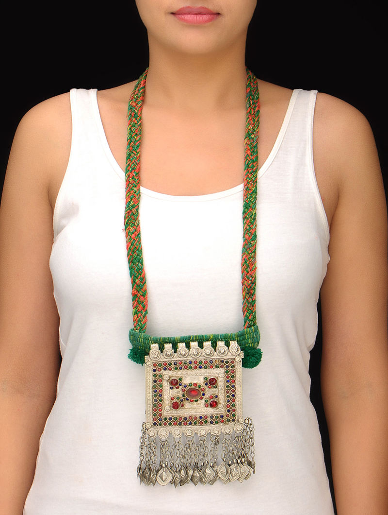 Green-Red-Beige Afghani Necklace