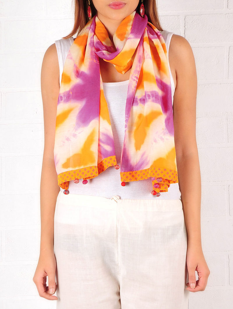 Orange-Ecru-Purple Cotton-Silk Shibori Dyed Stole