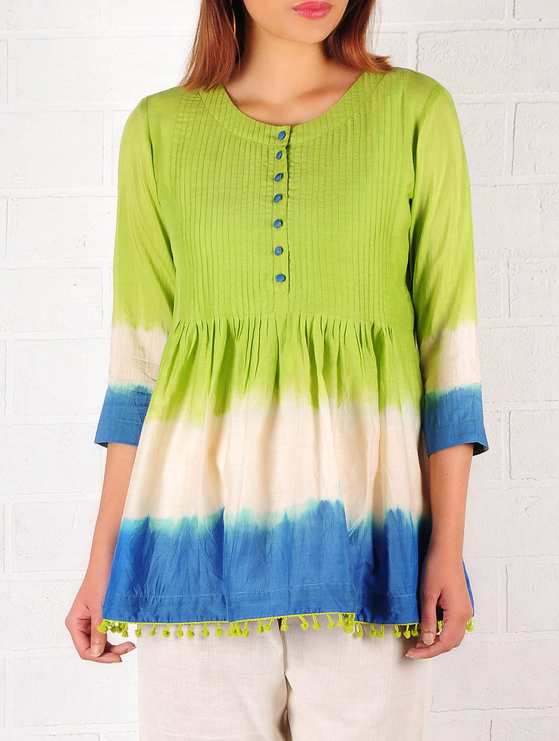 Lime Green-Blue-Ecru Cotton-Silk Ombre Pintuck Top