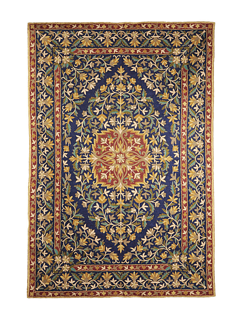 Chain-Stitch Hand Embroidered Wool Rug 69in x 47in