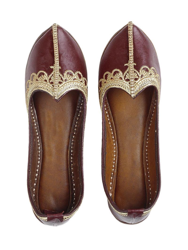 Maroon Leather Juttis with Tilla Work-36