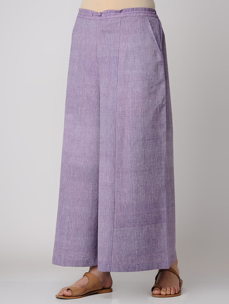 Purple Elasticated Waist Khadi Cotton Palazzos