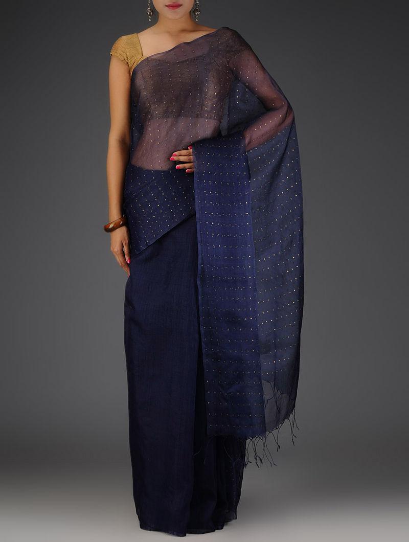 6ba3ec02fa7ea4 Navy Blue Sequins Embellished Tussar Silk Saree Embroidered Sarees