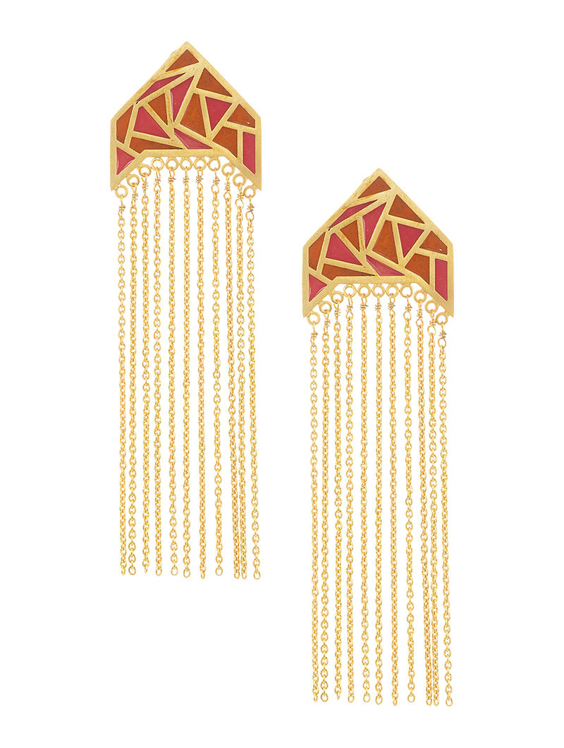 Red-Orange Enamel Gold Tone Brass Earrings