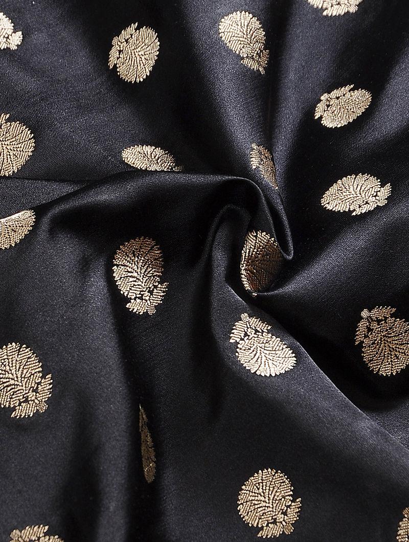 7d276fd4d4 Black Benarasi Tanchoi Silk Kurta Fabric Apparel