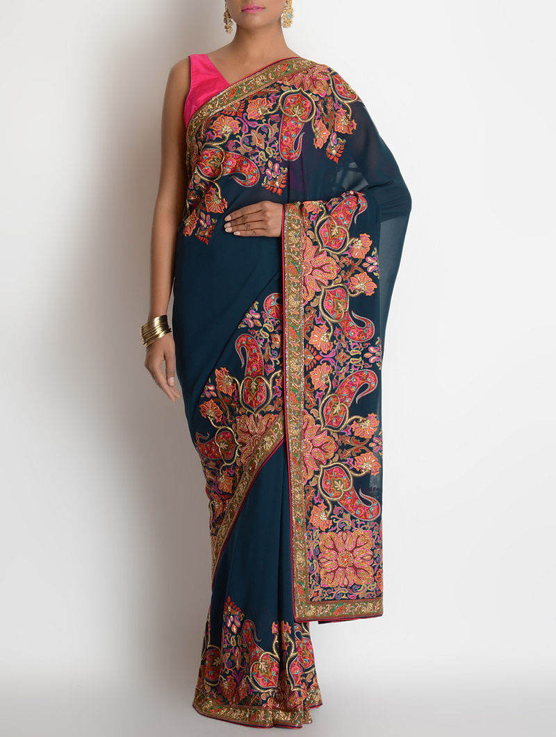 Prussian Blue Georgette Sequins Hand Embroidered Saree By Ekaya