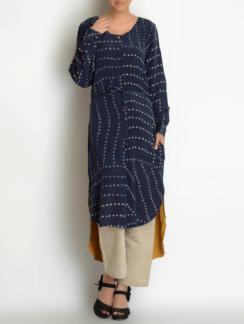 Navy-Mustard Shibori Dyed Crepe Silk Dress