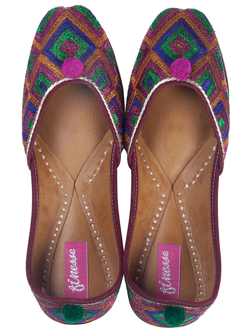 Multicolor Embroidered Zari Mojris by Finesse