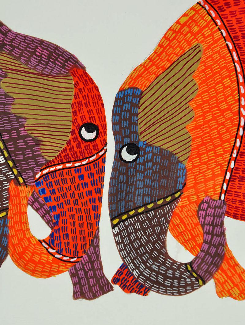Elephant Gond Art Frame