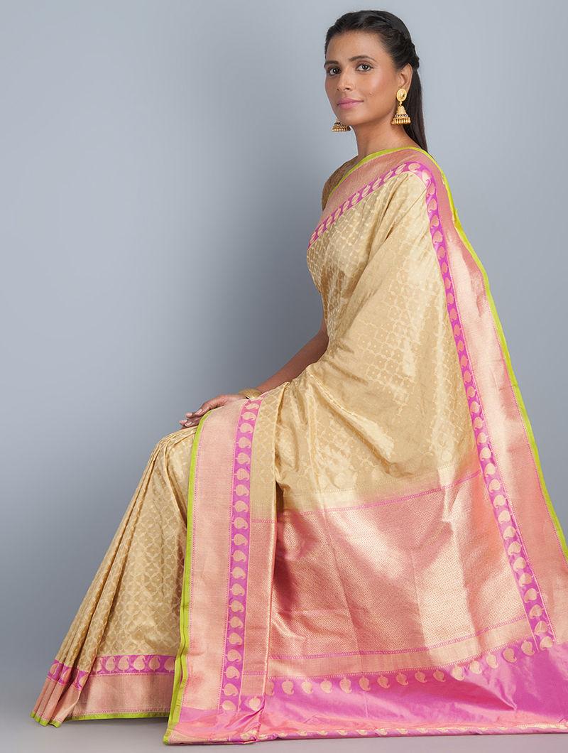 Beige-Pink Silk Banarasi Saree by Ghanshyam Sarode