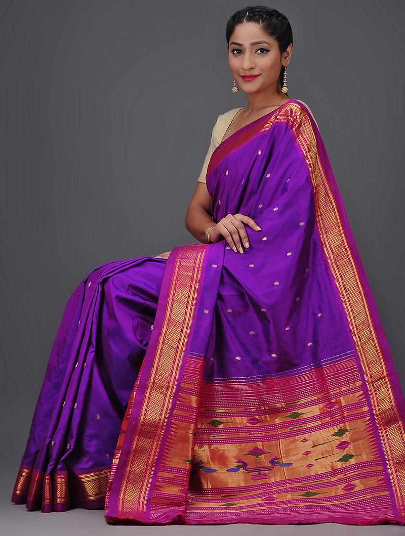 abfd27aea6 Purple-Pink Paithani Silk Saree with Zari Border The Jaypore ...