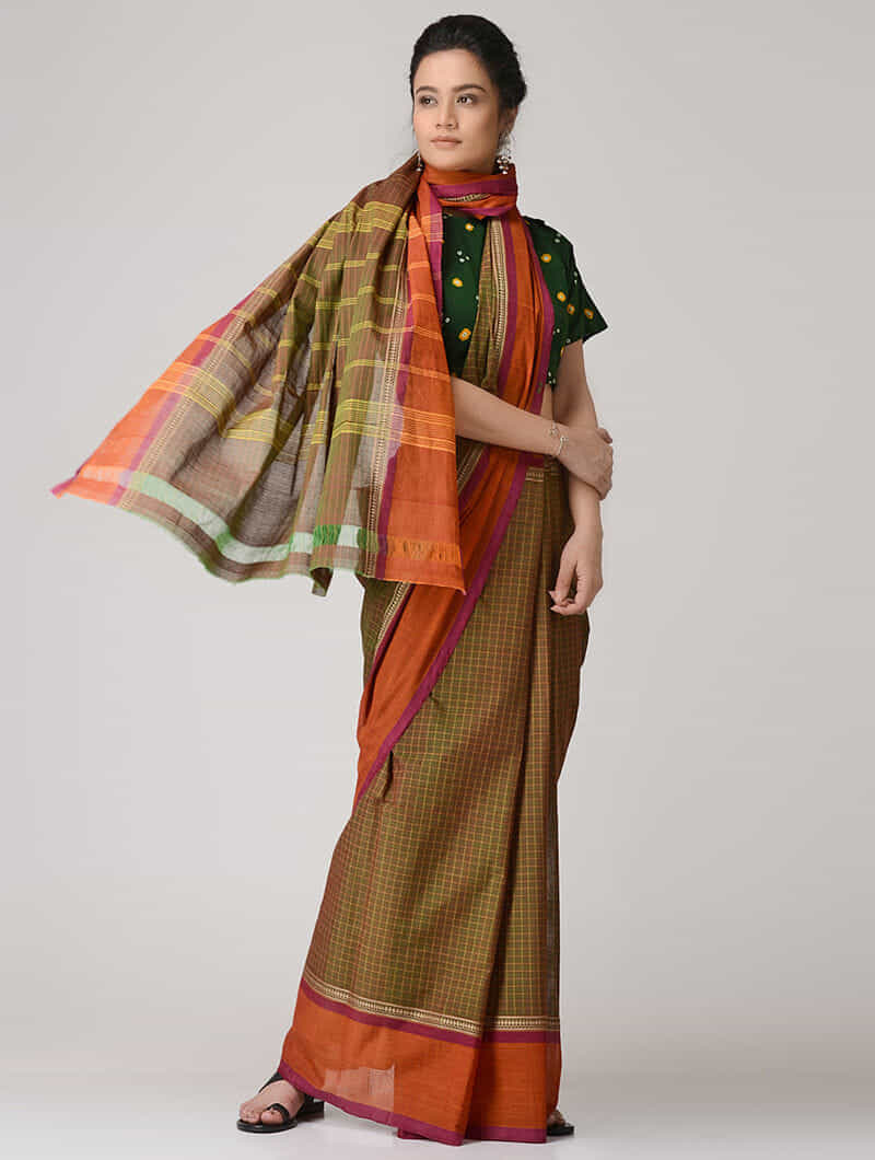 51ec7d24e2 Green-Orange Chettinad Cotton Saree with Kalamkari-printed Blouse Fabric  Woven Sarees