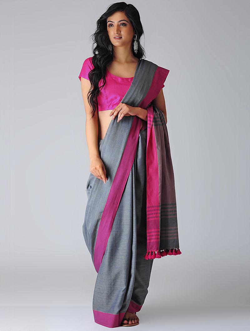 07205ab87e Grey-Pink Khadi Cotton Saree with Tassels Woven Sarees