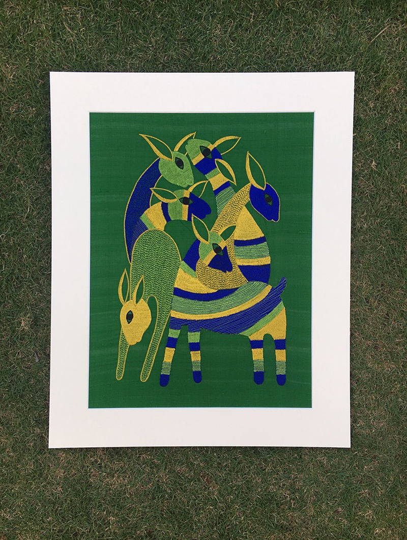 Gond Hiran Green-Blue Embroidered Raw Silk Wall Mounted Tapestry (15in x 12.6in)