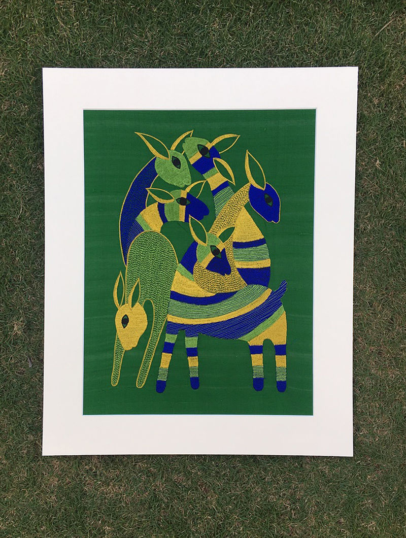 Gond Hiran Green-Blue Embroidered Raw Silk Wall Mounted Tapestry (19.6in x 15.7in)