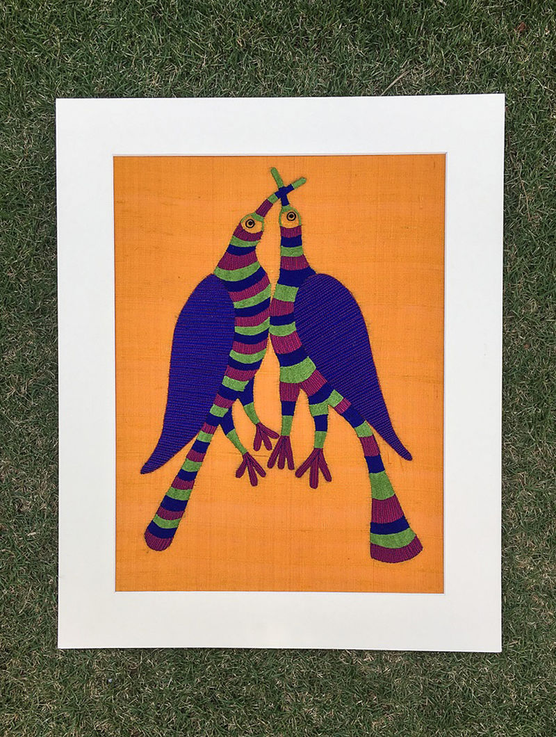 Gond Pakshi Multicolored Embroidered Raw Silk Wall Mounted Tapestry (19.6in x 15.7in)