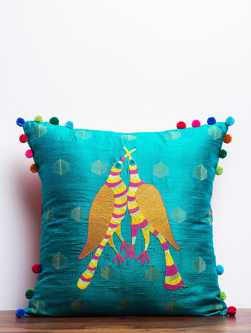 Gond Pakshi Teal-Multicolored Embroidered Raw Silk Cushion Cover with Pom-pom (20in x 20in)