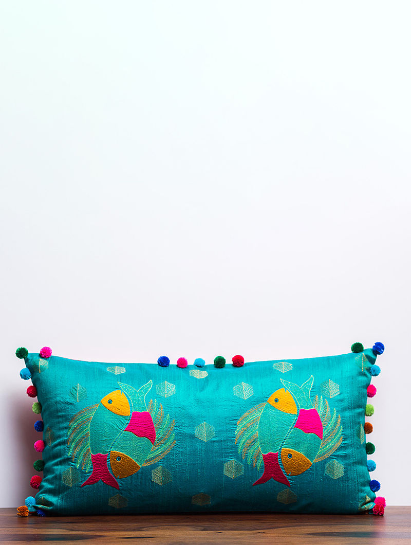 Gond Matsya Teal-Multicolored Embroidered Raw Silk Cushion Cover with Pom-pom (27in x 13.5in)