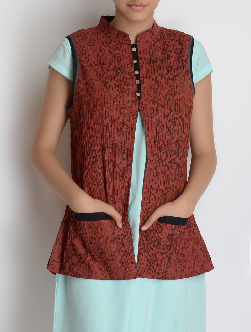 Red-Black Pintuck Sleeveless Block Printed Cotton Jacket