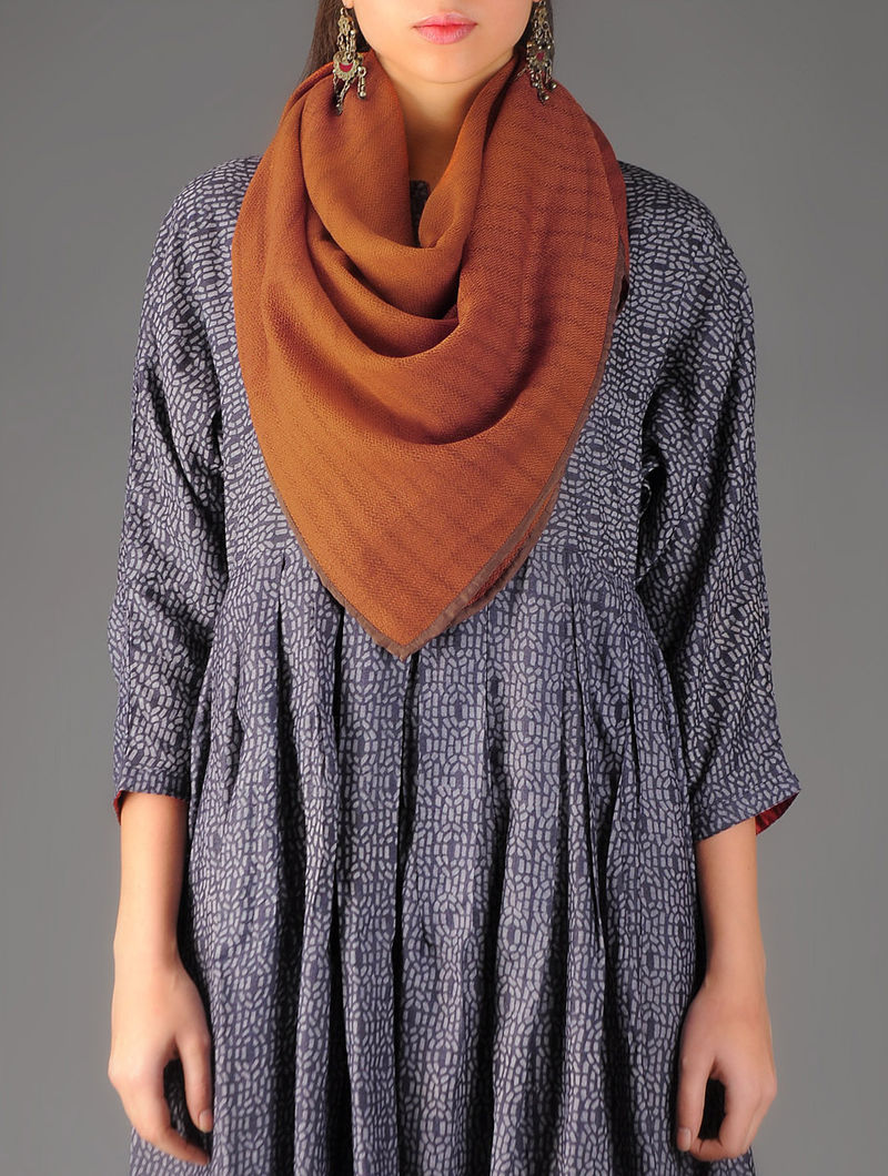 Rust - Brown Handwoven Merino Wool Scarf