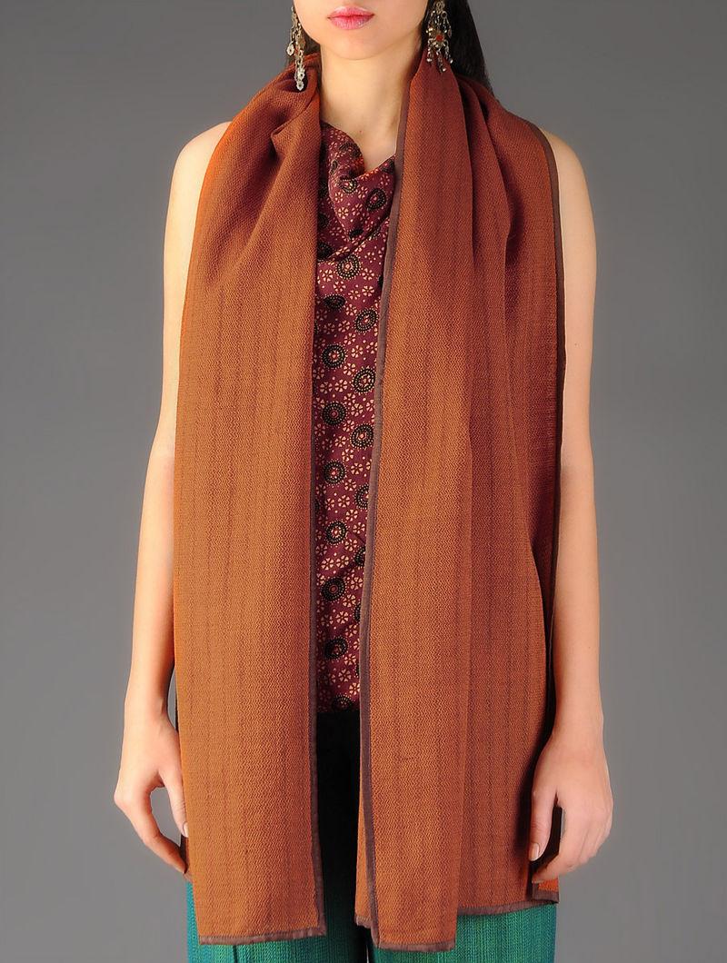 Rust - Brown Handwoven Merino Wool Stole