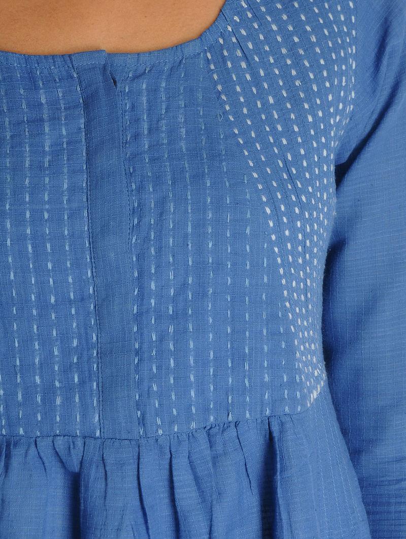 Blue-Ivory Kantha Embroidered Diagonal Yoke Kalidar Khadi Kurta
