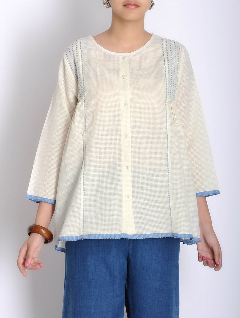 Cream-Blue Kantha Embroidered Pleated Khadi Shirt