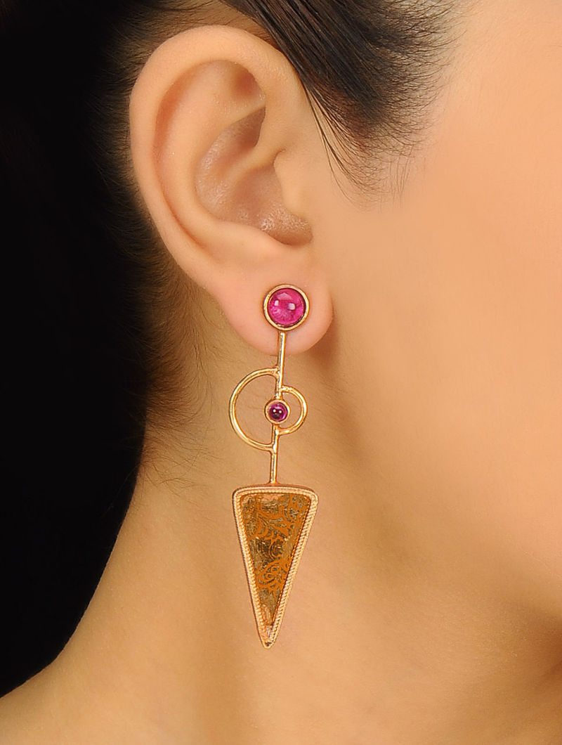Pair of Golden-Red Ethno Silver Earrings