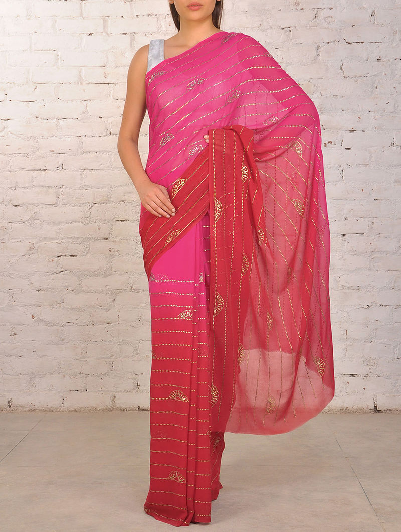 Rose Pink Mukaish Pure Georgette Saree