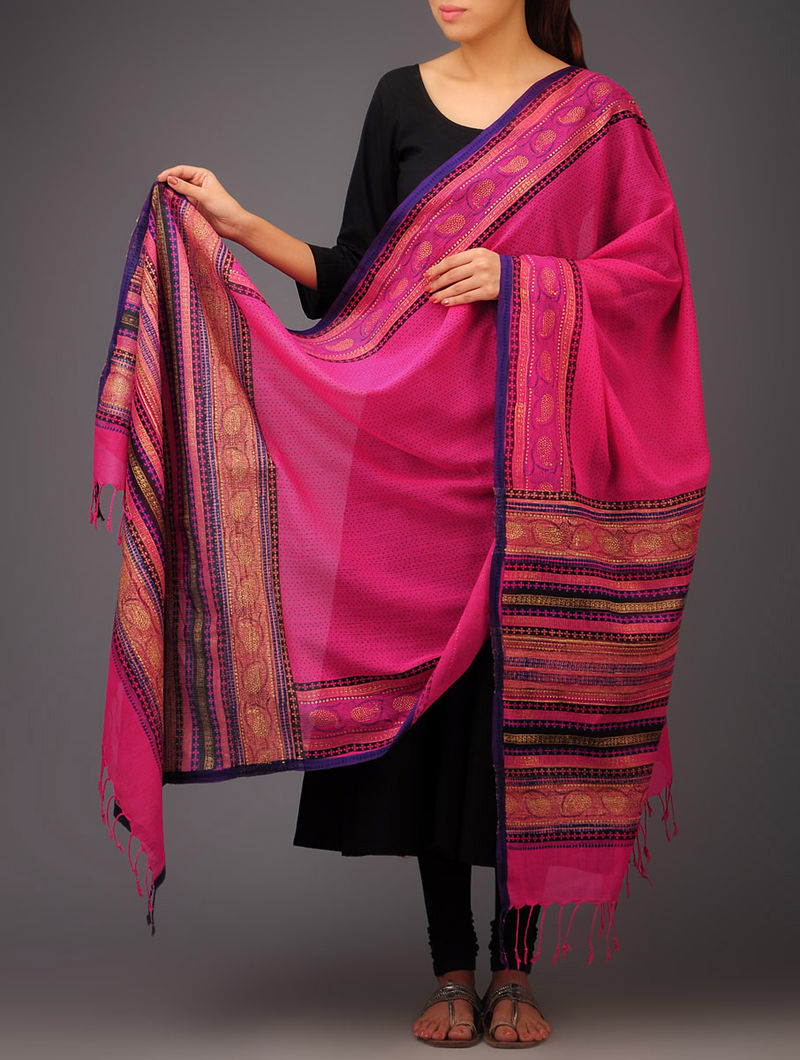 Pink-Purple Paisley Khari Block Printed Cotton Dupatta by Jaypore