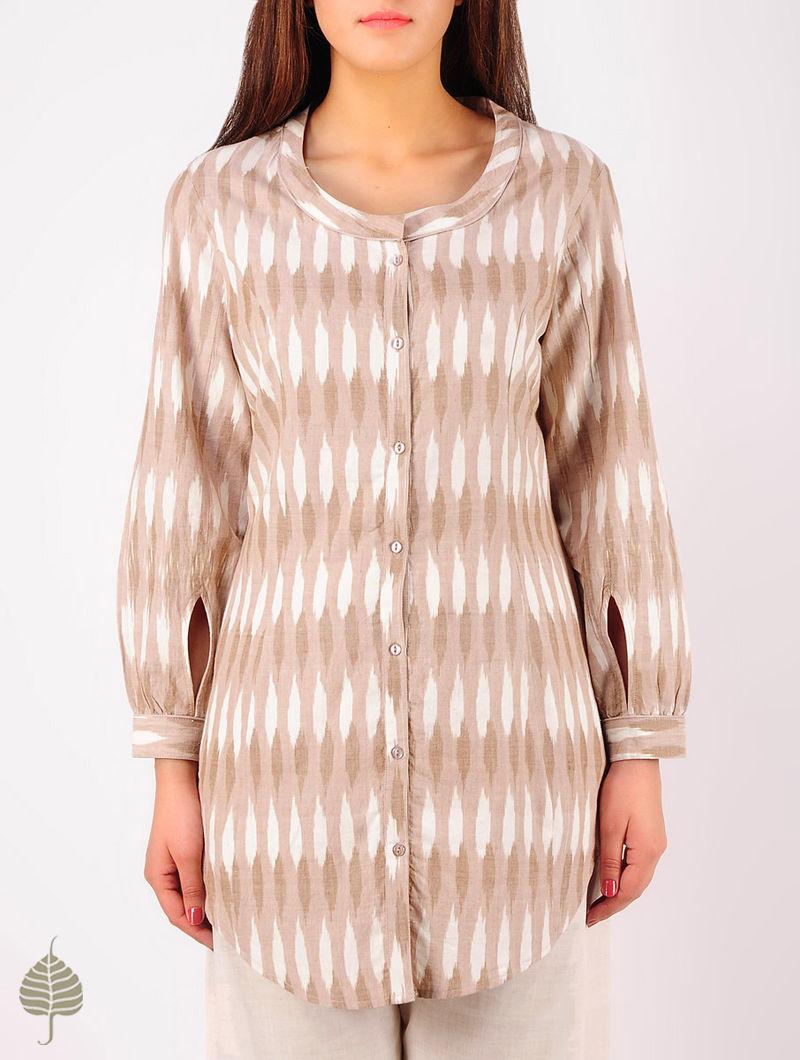 Ecru - Ivory Hand woven Ikat Princess line Cotton Tunic by Jaypore