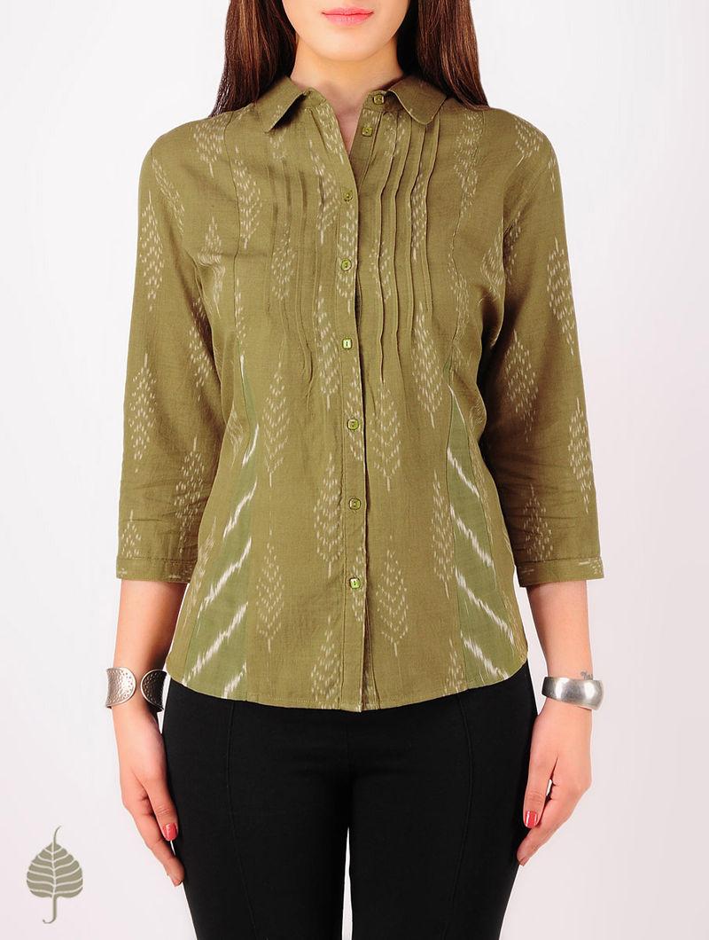 Olive - Ecru Hand woven Ikat Pintuck Cotton Shirt by Jaypore