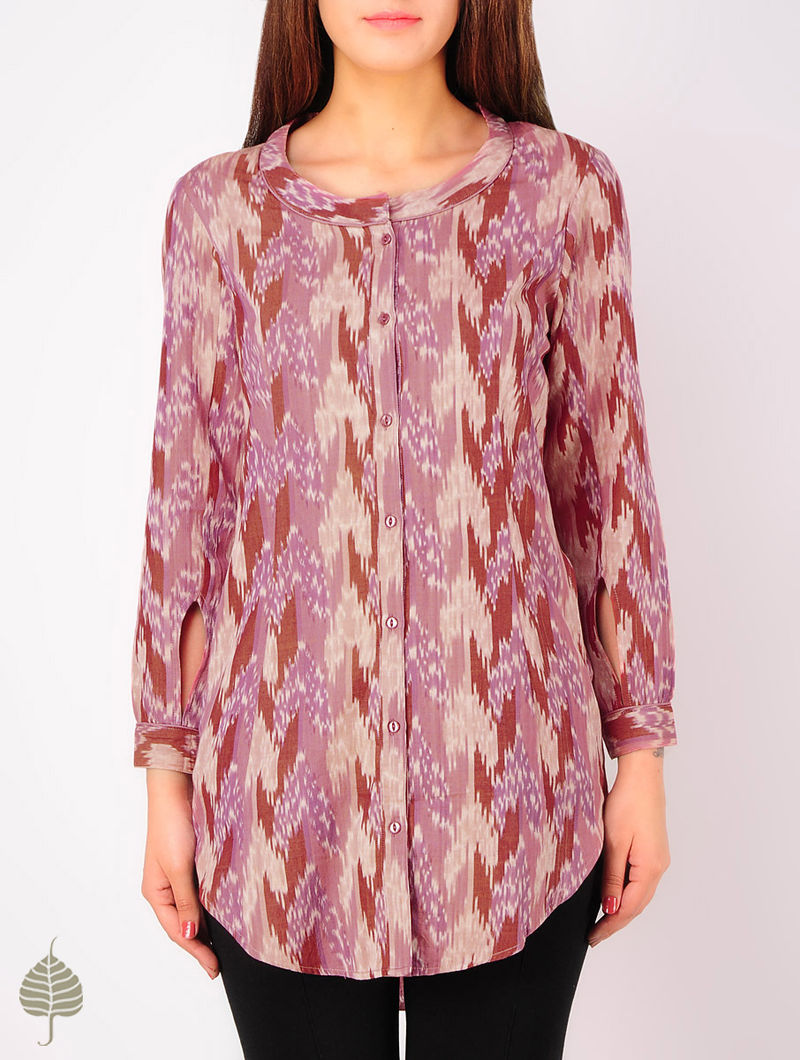 Pink - Ecru - Purple Hand woven Ikat Princess line Cotton Tunic by Jaypore