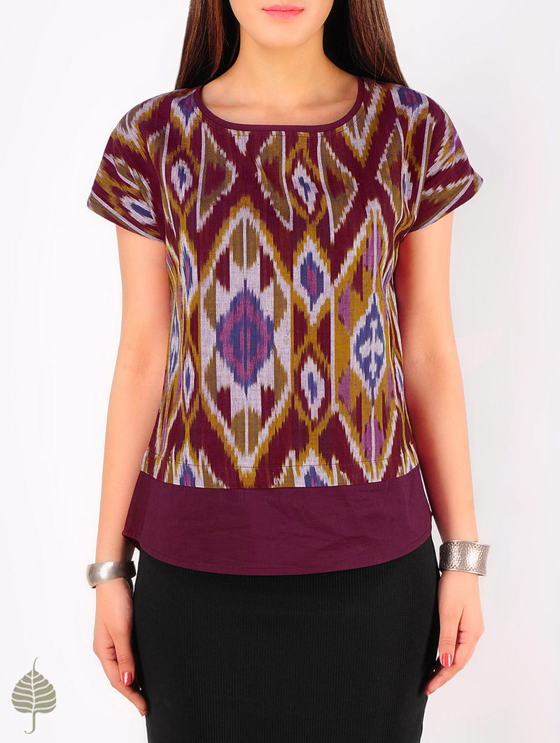 Burgundy - Multi-Color Hand woven Ikat Cotton Top by Jaypore