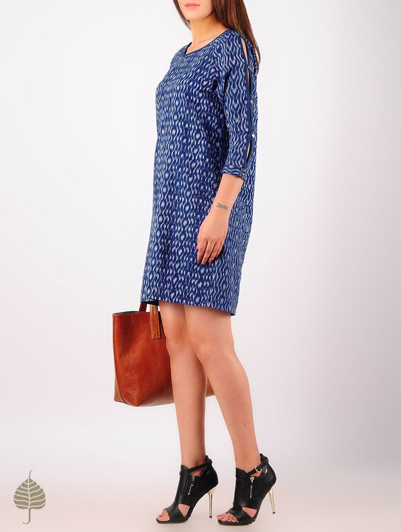 Blue - Grey Hand woven Ikat Button Detailed Cutout Sleeve Cotton Dress by Jaypore