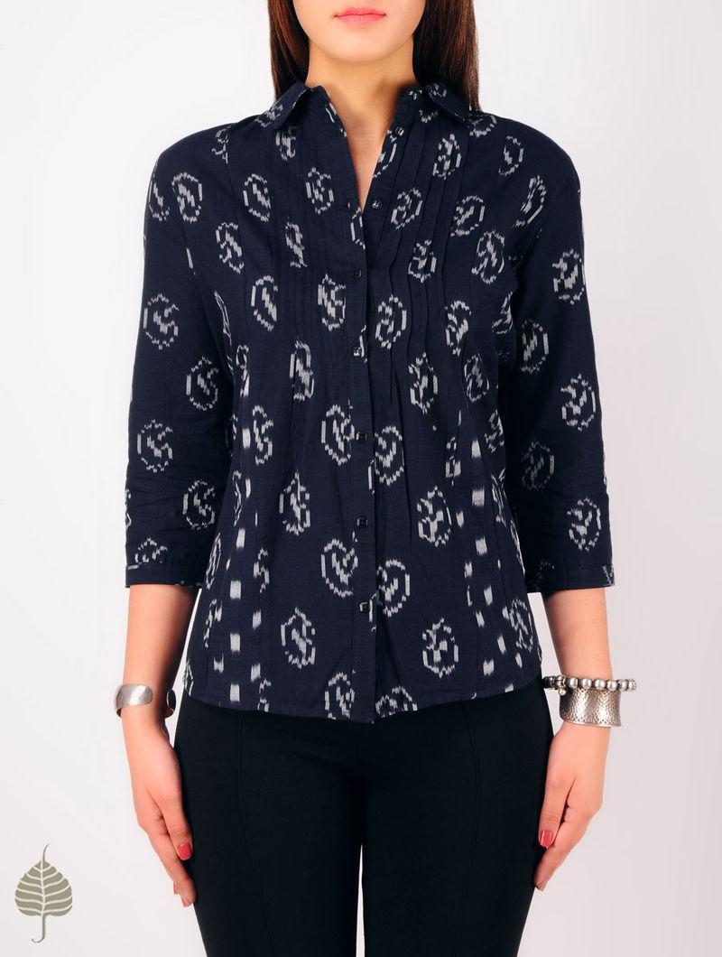 Navy - Grey Hand woven Ikat Pintuck Cotton Shirt by Jaypore